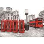 Tableau sur verre LONDRES (100 x 150 cm) (Rouge, gris)