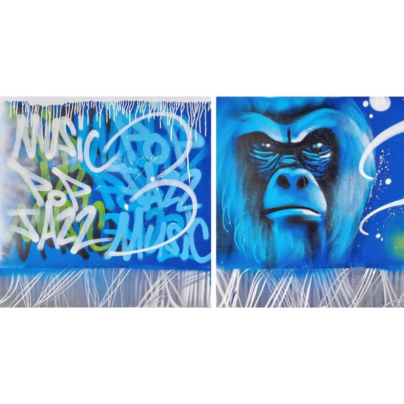 Set von 2 Gemälden Street Art GORILLE (Blau)