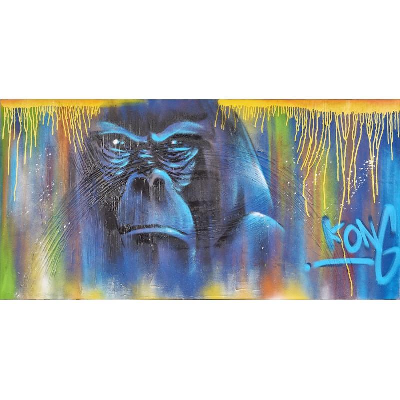 Tableau Street Art GORILLE (Bleu)