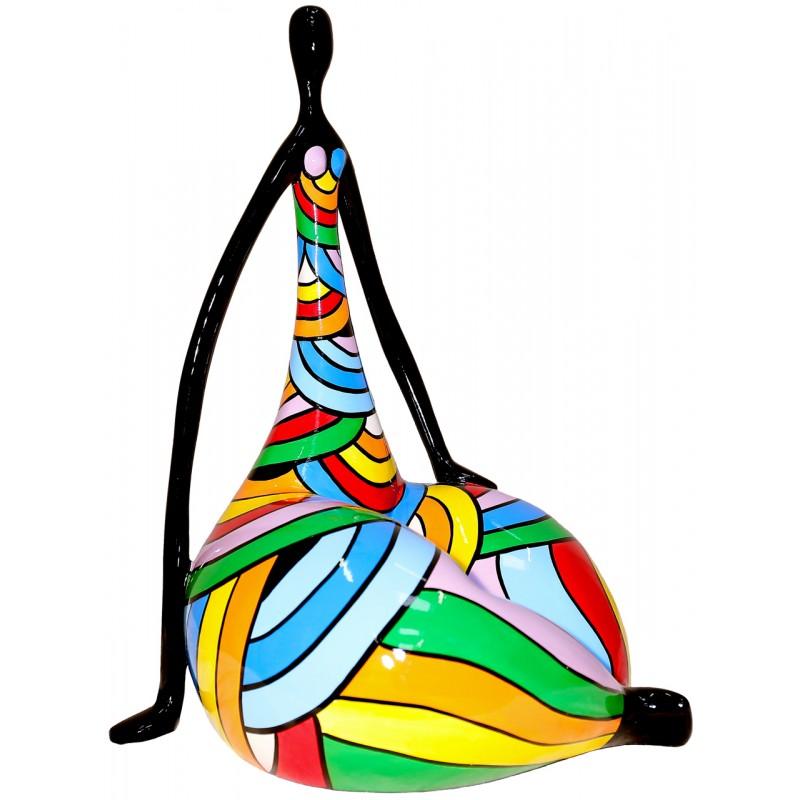 Statue sculpture décorative design FEMME LOTUS en résine H50 cm (Multicolore)
