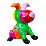 Statue sculpture décorative design CHIEN ASSIS POP ART en résine H50 cm (Multicolore)