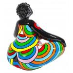 Statue sculpture décorative design FEMME EXOTIQUE LOTUS en résine H40 cm (Multicolore)