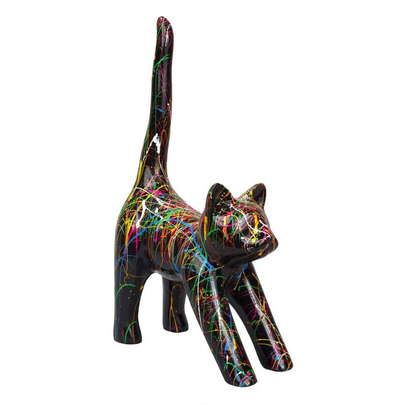 Statue sculpture décorative design CHAT HEUREUX en résine H44 cm (Multicolore) - image 49274