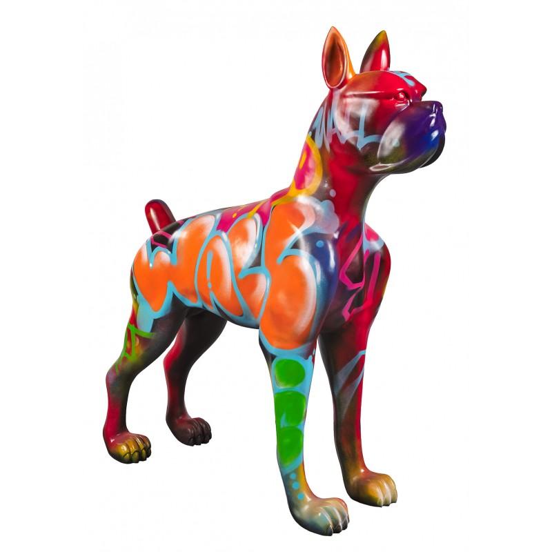 Statue sculpture décorative design CHIEN DEBOUT STREET ART XXL en résine H150 cm (Multicolore) - image 49280