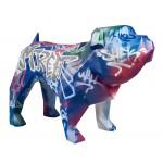 Statue sculpture décorative design CHIEN DEBOUT STREET ART en résine H103 cm (Multicolore)