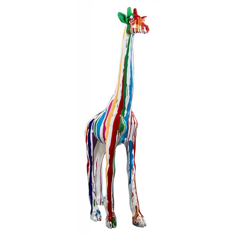 Statue sculpture décorative design GIRAFE TRASH en résine H198 cm (Multicolore)