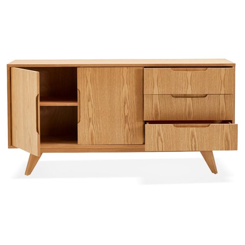Buffet enfilade design 2 portes 3 tiroirs en bois MELINA (naturel) - image 49395