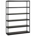 Regal Bibliothek Design-Stil industriell aus Holz und Metall AKARI (schwarz)