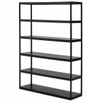 Etagère bibliothèque design style industriel en bois et métal AKARI (noir)