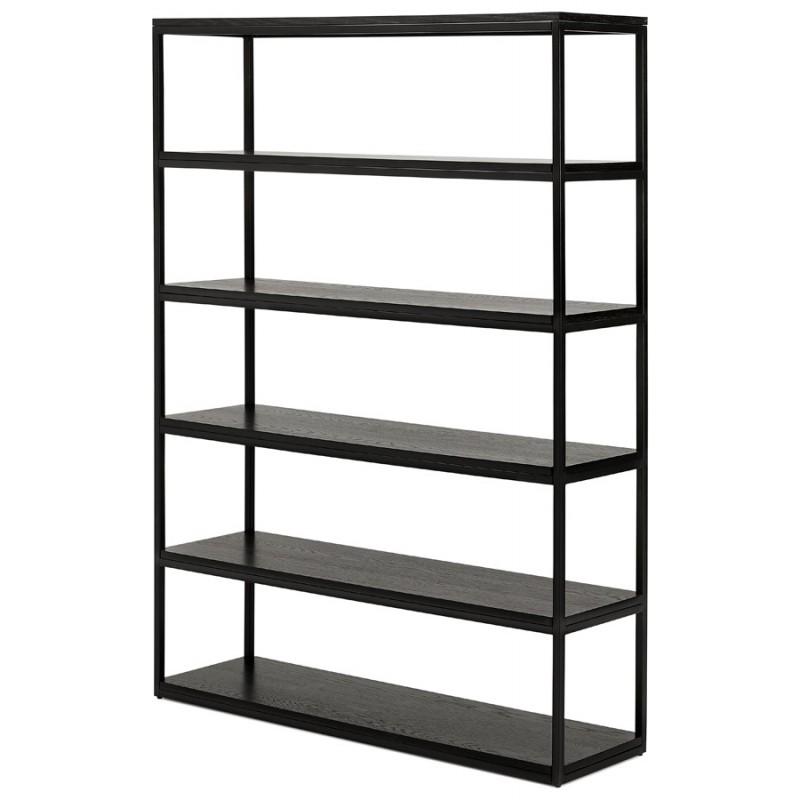 Diseño de biblioteca ampliada estilo industrial en madera y metal AKARI (negro) - image 49410