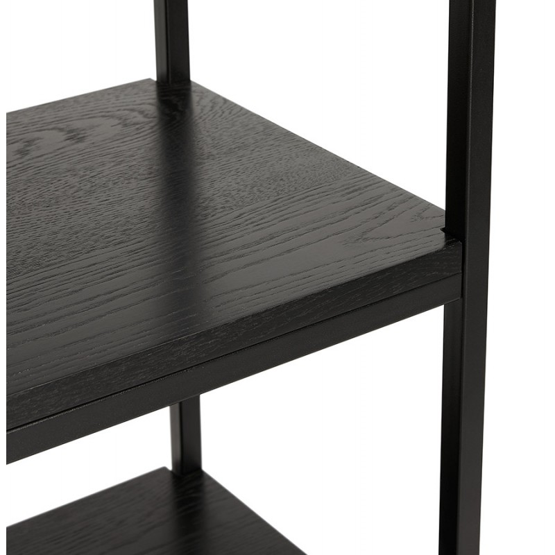 Diseño de biblioteca ampliada estilo industrial en madera y metal AKARI (negro) - image 49415