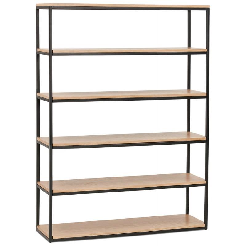 Etagère bibliothèque design style industriel en bois et métal AKARI (naturel)