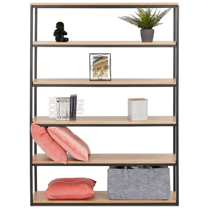 Etager Bibliothek Design-Stil Industrie Stil aus Holz und Metall AKARI (natur) - image 49425