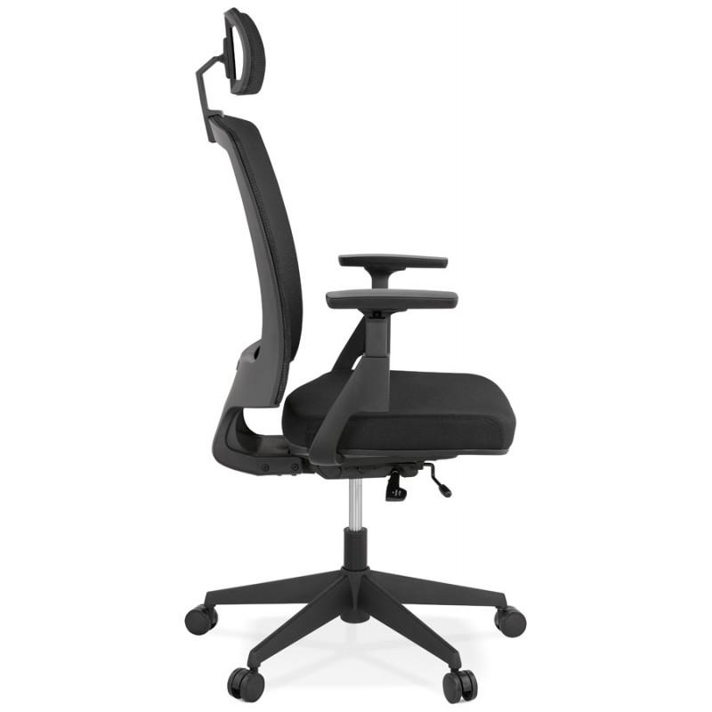 Fauteuil de bureau ergonomique en tissu KAORI (noir) - image 49430
