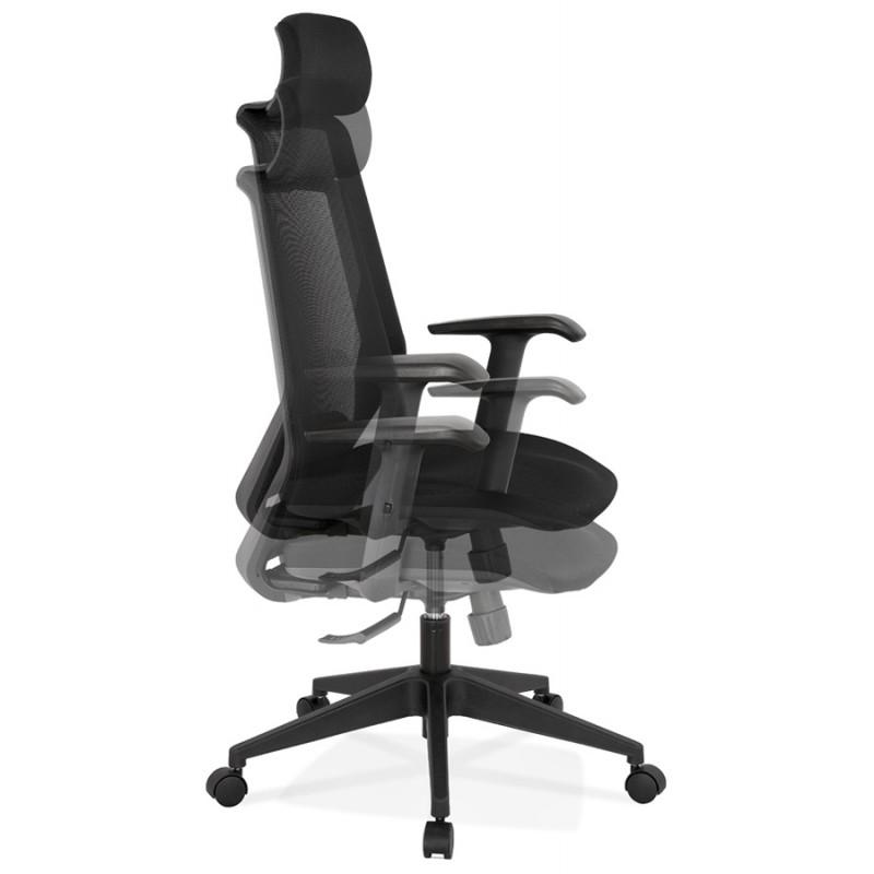 Fauteuil de bureau ergonomique en tissu AMAYA (noir) - image 49480