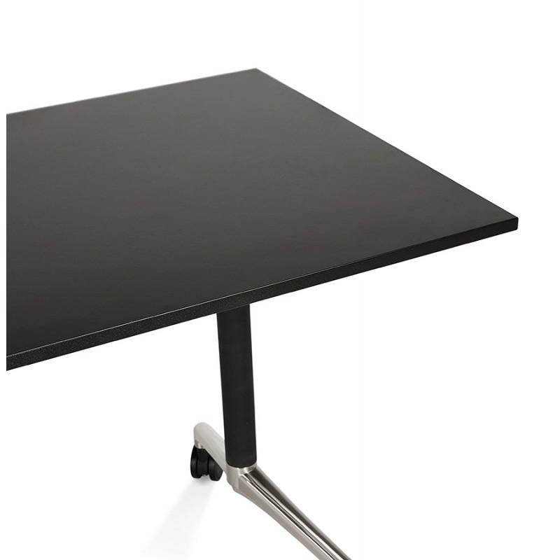 Table pliante sur roulettes  en bois pieds noirs SAYA (160x80 cm) (noir) - image 49493