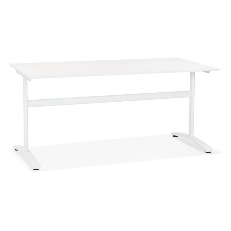 Bureau droit en bois pieds blanc SONA (160x80 cm) (blanc)