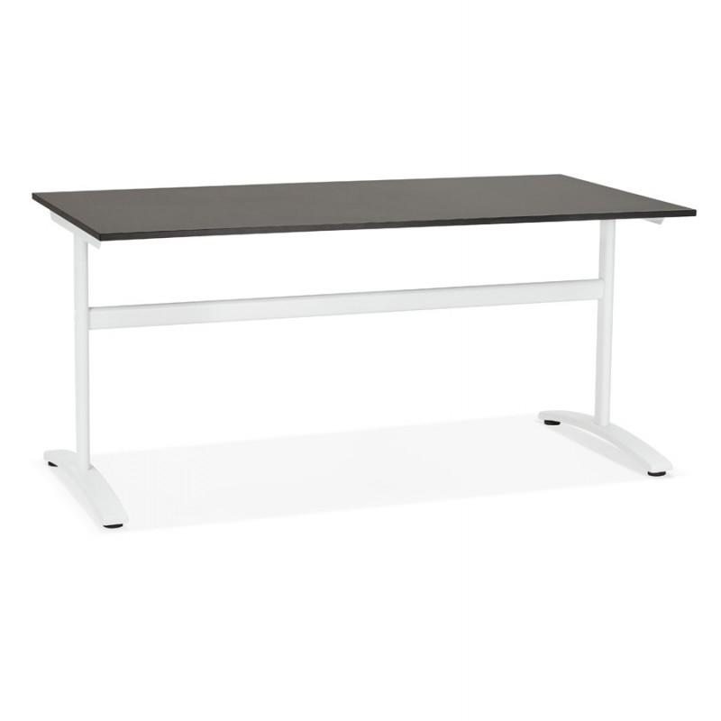 SONA scrivania destra in legno dai piedi bianchi (160x80 cm) (nero)