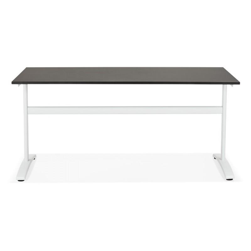 Bureau droit en bois pieds blanc SONA (160x80 cm) (noir) - image 49511