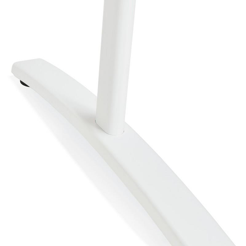 Bureau droit en bois pieds blanc SONA (160x80 cm) (noir) - image 49518