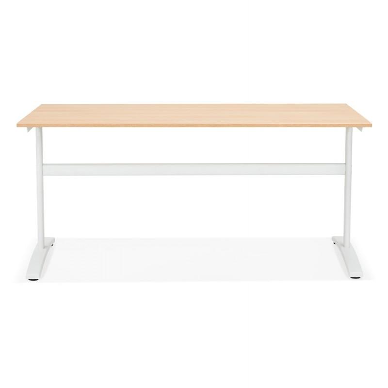 Bureau droit en bois pieds blanc SONA (160x80 cm) (finition naturelle) - image 49521