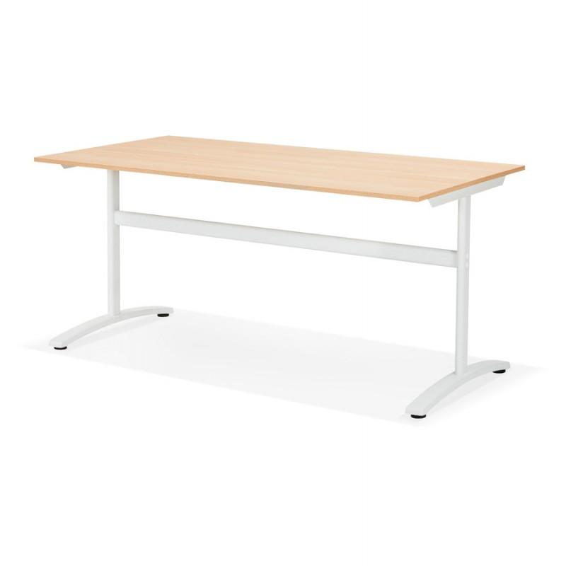 Bureau droit en bois pieds blanc SONA (160x80 cm) (finition naturelle) - image 49523