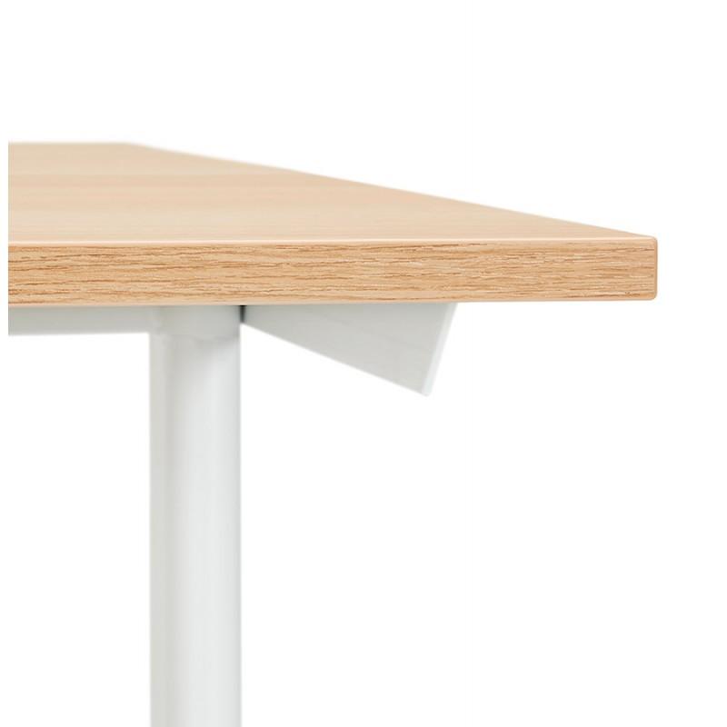 Bureau droit en bois pieds blanc SONA (160x80 cm) (finition naturelle) - image 49525