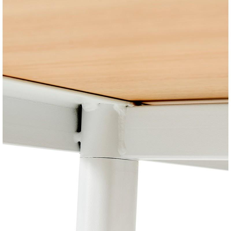 Bureau droit en bois pieds blanc SONA (160x80 cm) (finition naturelle) - image 49527