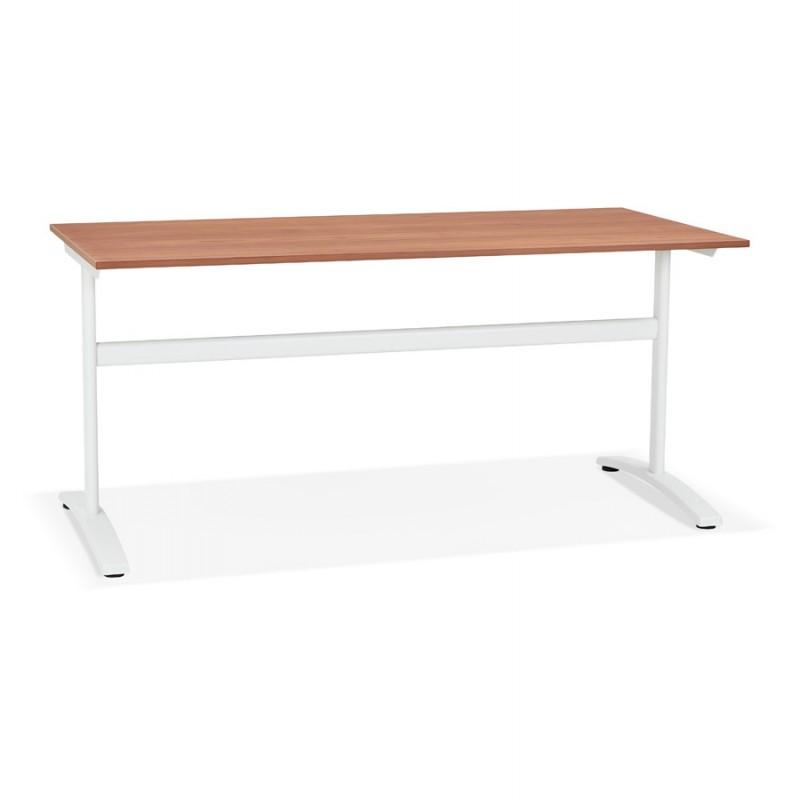 Bureau droit en bois pieds blanc SONA (160x80 cm) (finition noyer) - image 49530
