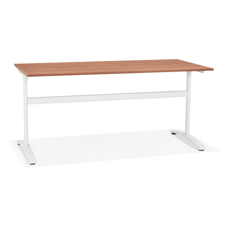 SONA scrivania destra in legno dai piedi bianchi (160x80 cm) (finitura in noce) - image 49530