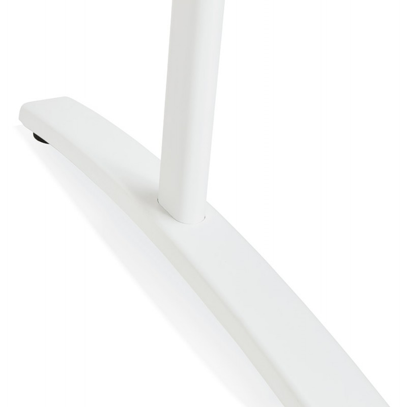 Bureau droit en bois pieds blanc SONA (160x80 cm) (finition noyer) - image 49538
