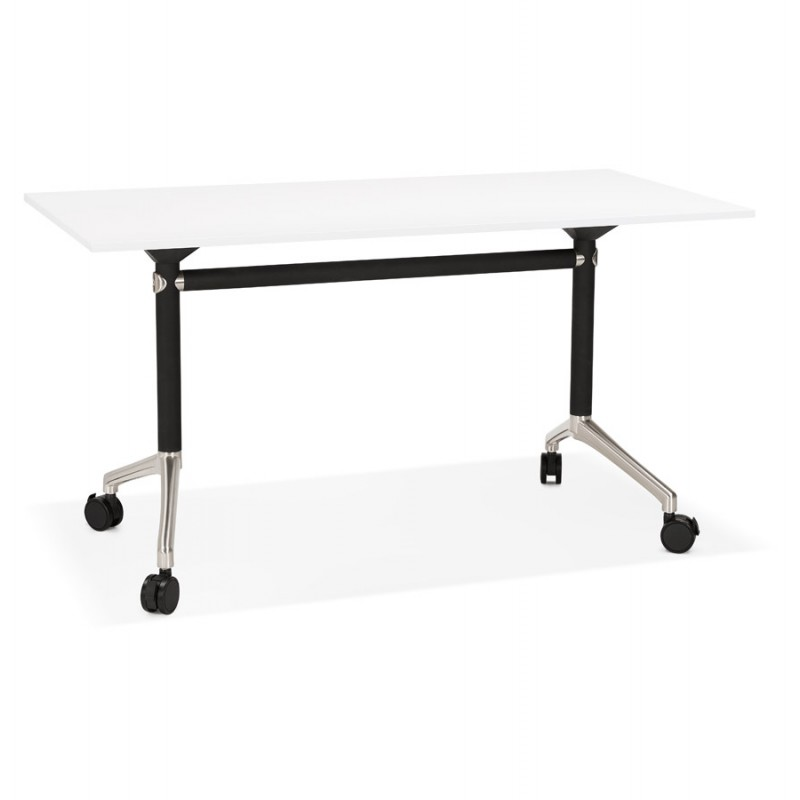 SAYA black-footed wooden wheely table (140x70 cm) (white)