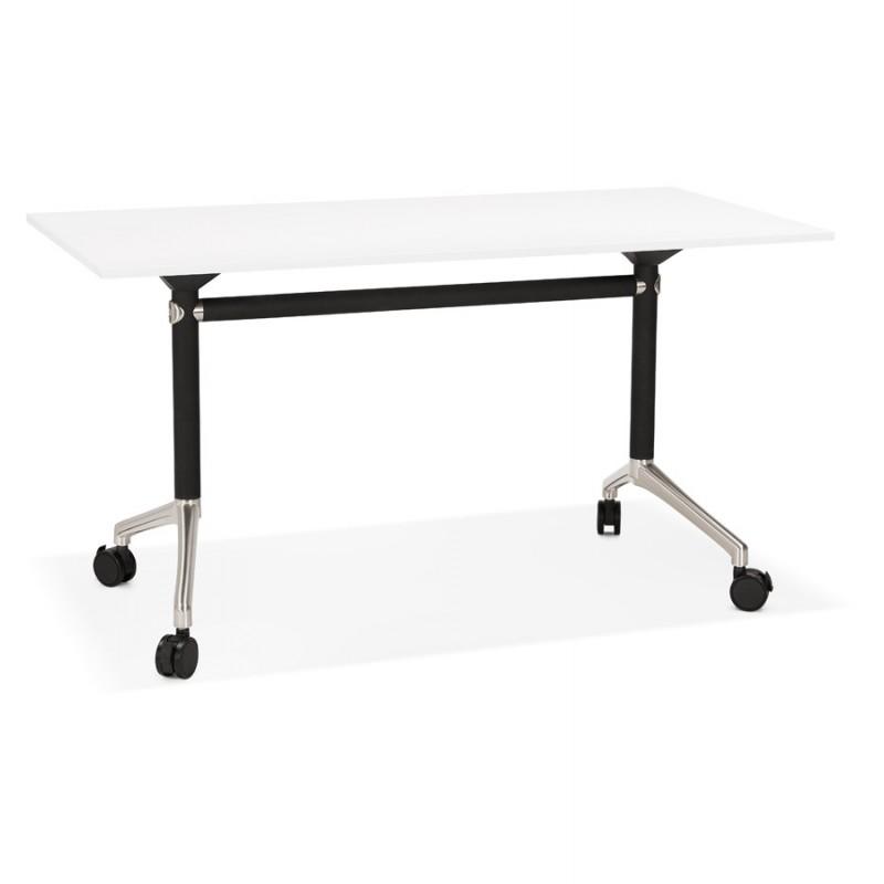 Table pliante sur roulettes en bois pieds noirs SAYA (140x70 cm) (blanc) - image 49540