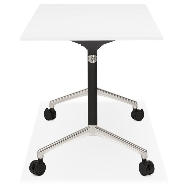 Table pliante sur roulettes en bois pieds noirs SAYA (140x70 cm) (blanc) - image 49542
