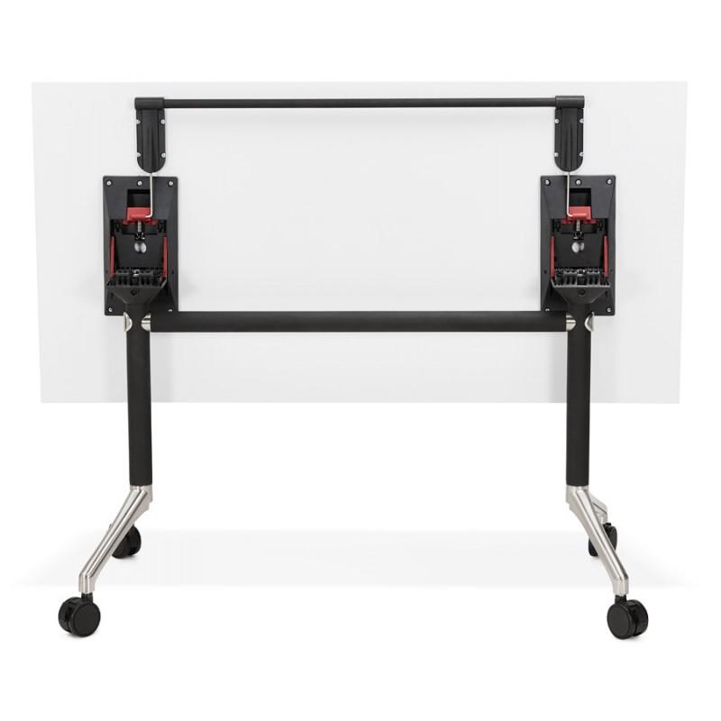 Table pliante sur roulettes en bois pieds noirs SAYA (140x70 cm) (blanc) - image 49544