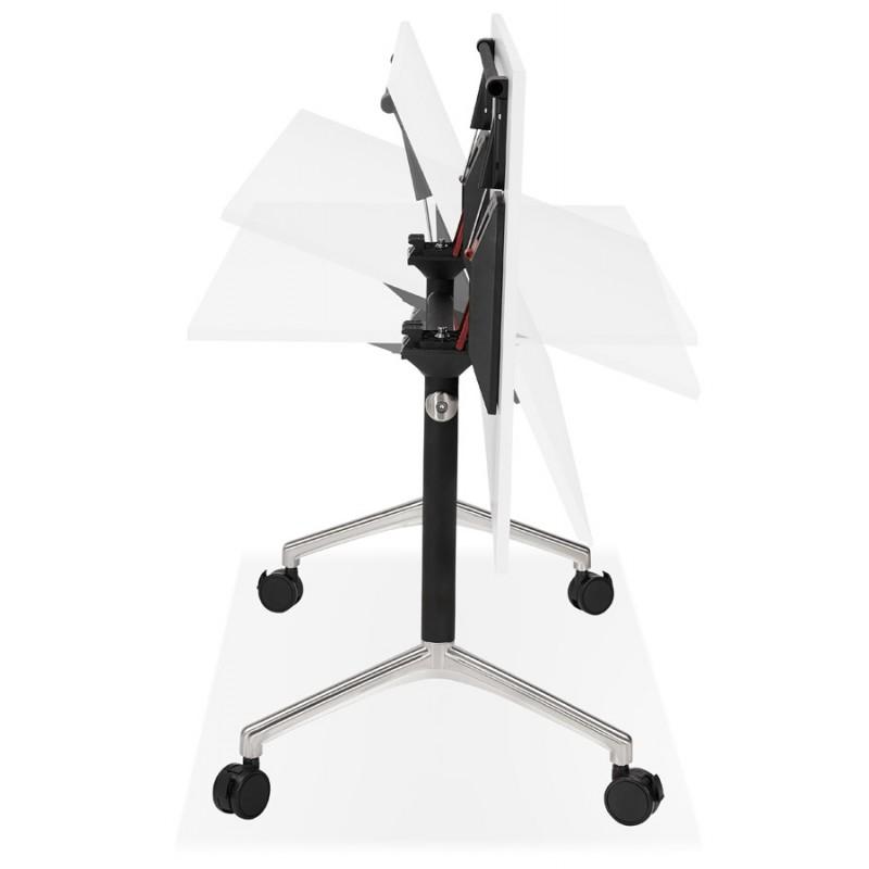 Table pliante sur roulettes en bois pieds noirs SAYA (140x70 cm) (blanc) - image 49545