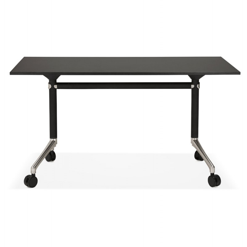 SAYA black-footed wooden wheely table (140x70 cm) (black) - image 49554