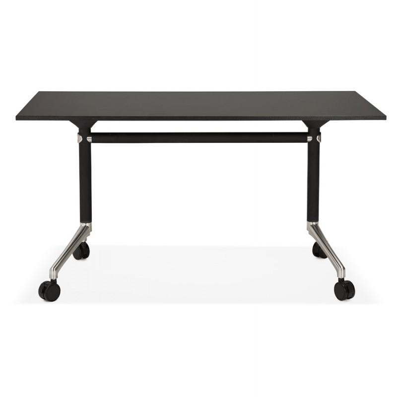Table pliante sur roulettes en bois pieds noirs SAYA (140x70 cm) (noir) - image 49554
