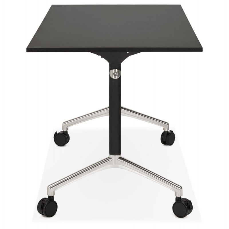 SAYA black-footed wooden wheely table (140x70 cm) (black) - image 49555