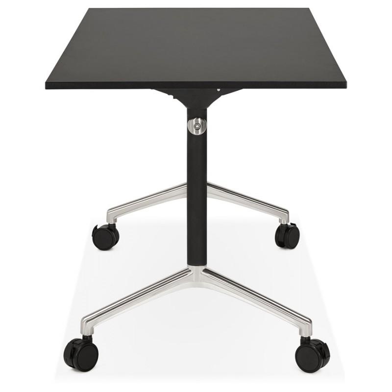 Table pliante sur roulettes en bois pieds noirs SAYA (140x70 cm) (noir) - image 49555