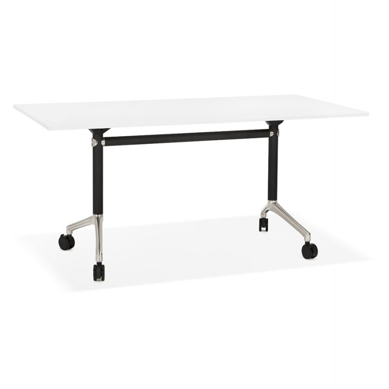 SAYA black-footed wooden wheely table (160x80 cm) (white) - image 49566