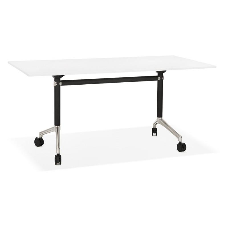 Table pliante sur roulettes en bois pieds noirs SAYA (160x80 cm) (blanc) - image 49566