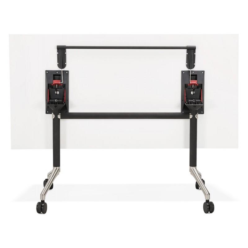 Table pliante sur roulettes en bois pieds noirs SAYA (160x80 cm) (blanc) - image 49570