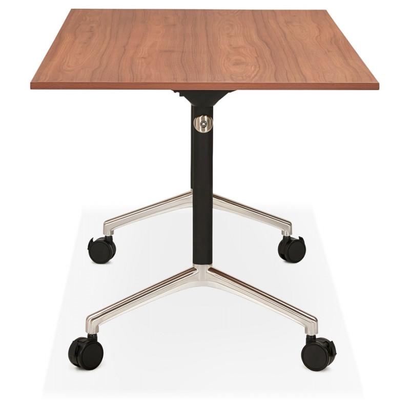 Table pliante sur roulettes en bois pieds noirs SAYA (160x80 cm) (finition noyer) - image 49583