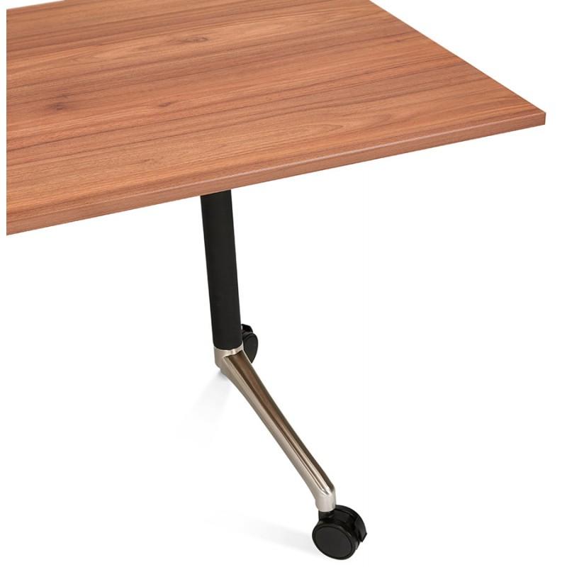 Table pliante sur roulettes en bois pieds noirs SAYA (160x80 cm) (finition noyer) - image 49588
