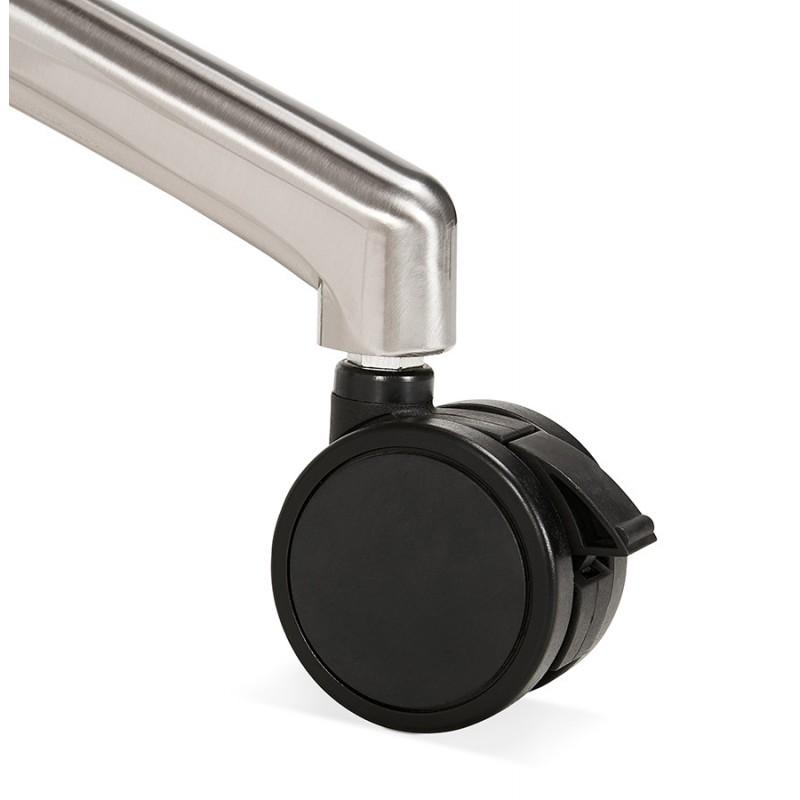 Table pliante sur roulettes en bois pieds noirs SAYA (160x80 cm) (finition noyer) - image 49593