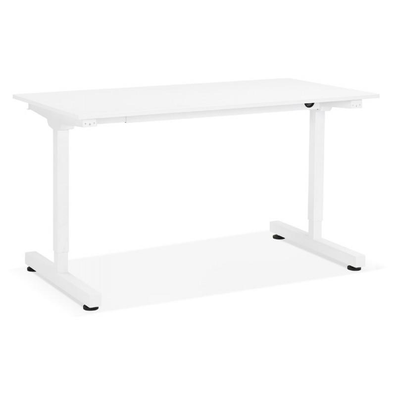 Bureau assis debout en bois pieds blanc cassé NAOMIE (140x70 cm) (blanc) - image 49594