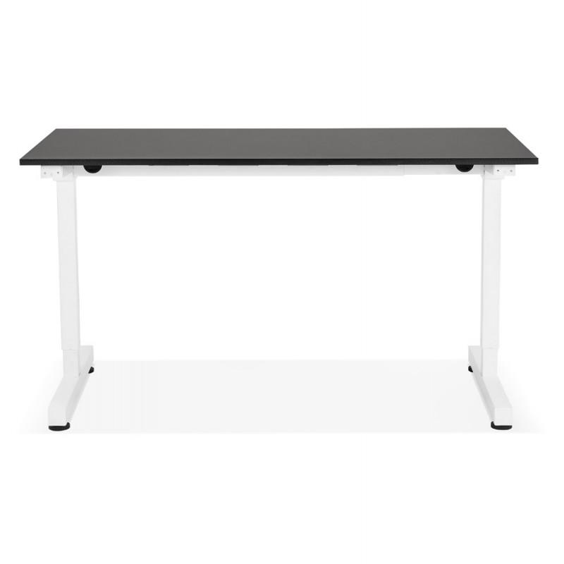 Bureau assis debout en bois pieds blanc cassé NAOMIE (140x70 cm) (noir) - image 49605