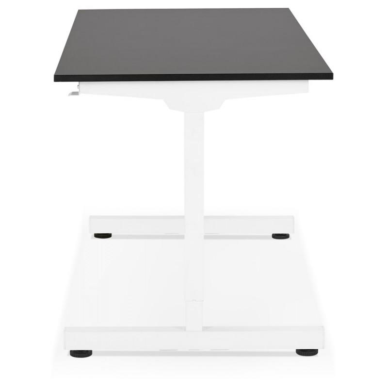 Bureau assis debout en bois pieds blanc cassé NAOMIE (140x70 cm) (noir) - image 49606