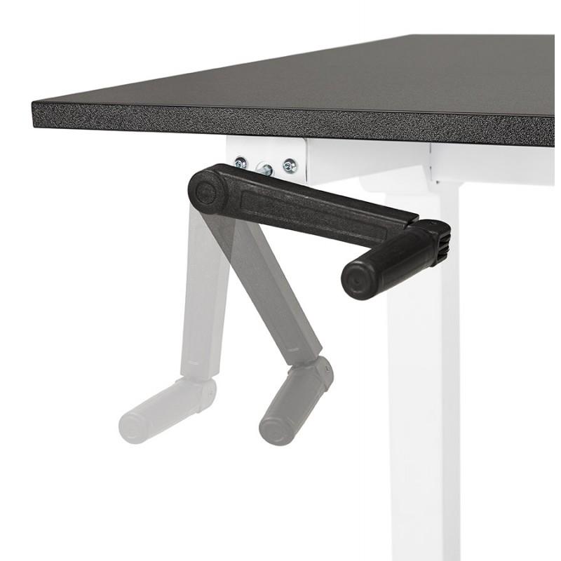 Bureau assis debout en bois pieds blanc cassé NAOMIE (140x70 cm) (noir) - image 49610